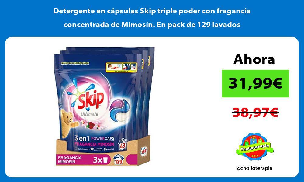 Detergente en cápsulas Skip triple poder con fragancia concentrada de Mimosín En pack de 129 lavados