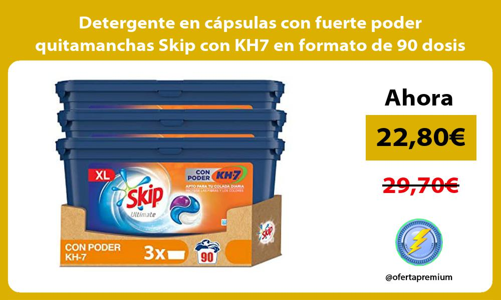 Detergente en cápsulas con fuerte poder quitamanchas Skip con KH7 en formato de 90 dosis