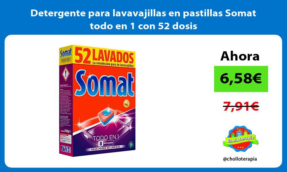 Detergente para lavavajillas en pastillas Somat todo en 1 con 52 dosis