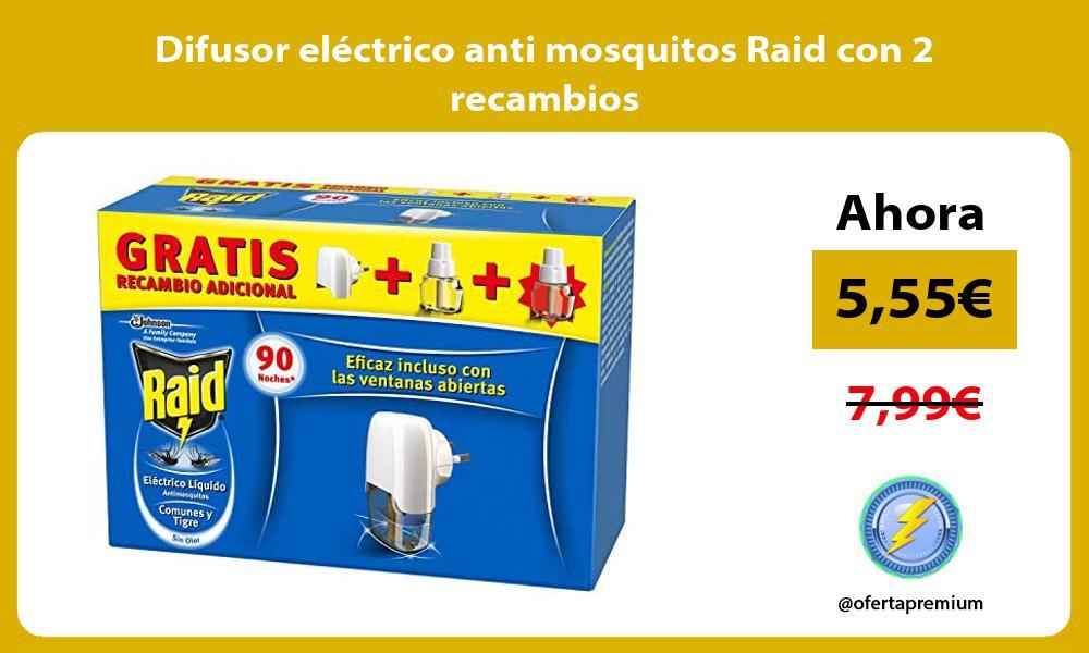 Difusor eléctrico anti mosquitos Raid con 2 recambios
