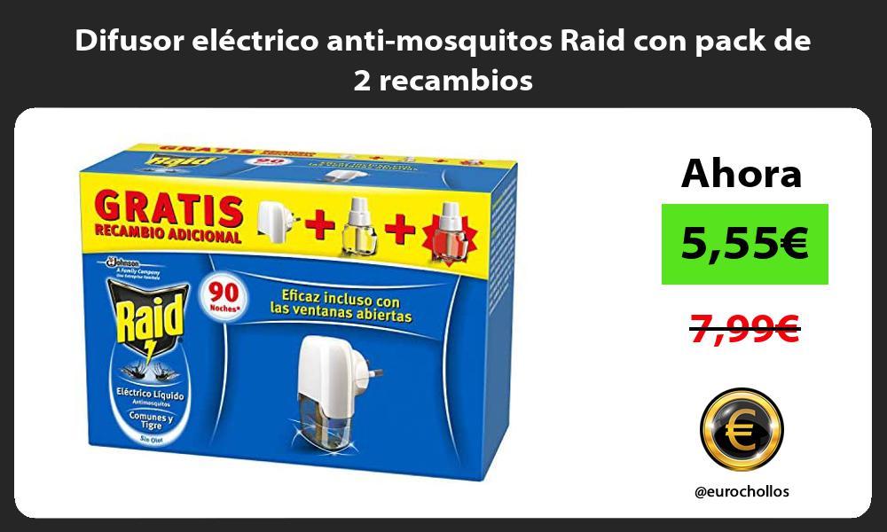 Difusor eléctrico anti mosquitos Raid con pack de 2 recambios