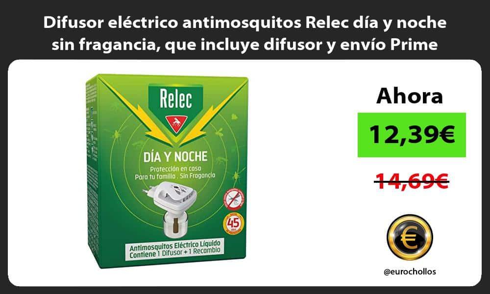 Difusor eléctrico antimosquitos Relec día y noche sin fragancia que incluye difusor y envío Prime