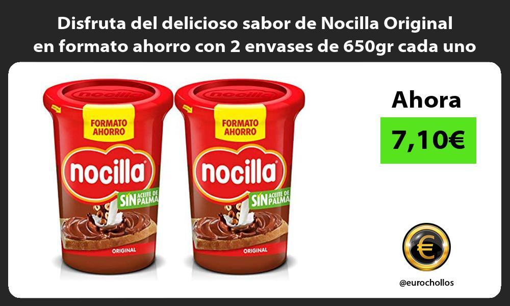 Disfruta del delicioso sabor de Nocilla Original en formato ahorro con 2 envases de 650gr cada uno