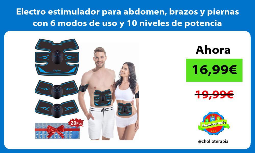 Electro estimulador para abdomen brazos y piernas con 6 modos de uso y 10 niveles de potencia