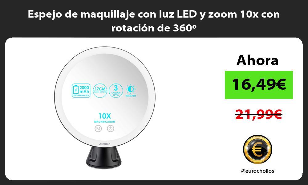 Espejo de maquillaje con luz LED y zoom 10x con rotación de 360º