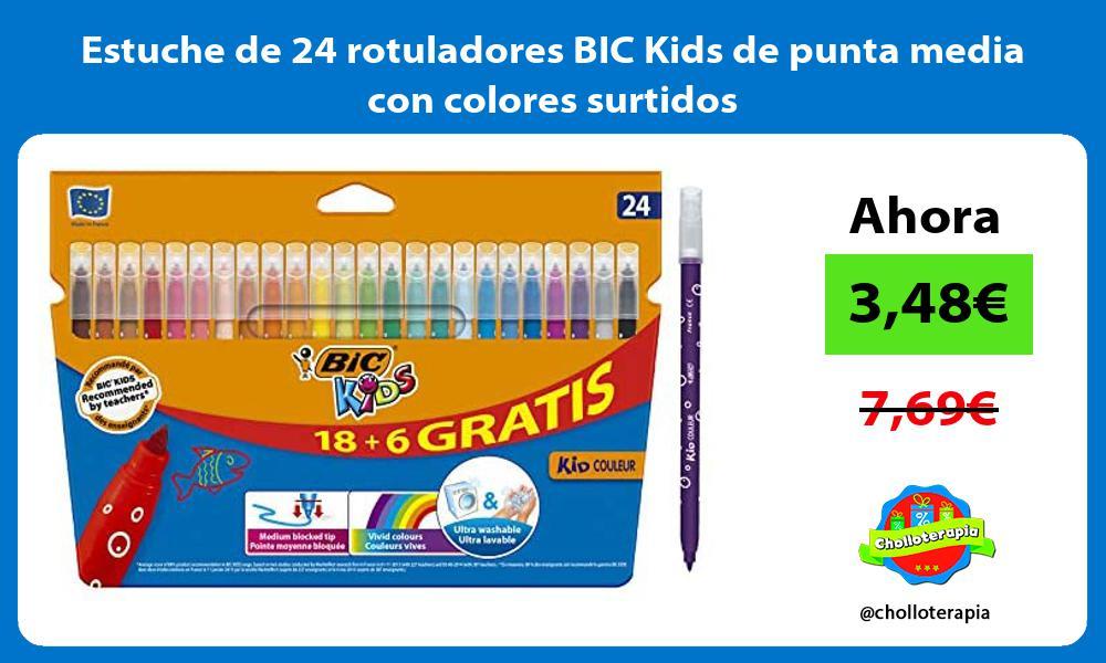 Estuche de 24 rotuladores BIC Kids de punta media con colores surtidos