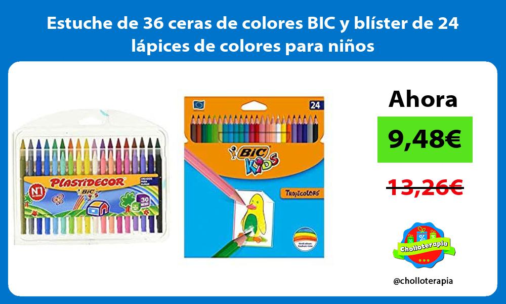 Estuche de 36 ceras de colores BIC y blíster de 24 lápices de colores para niños