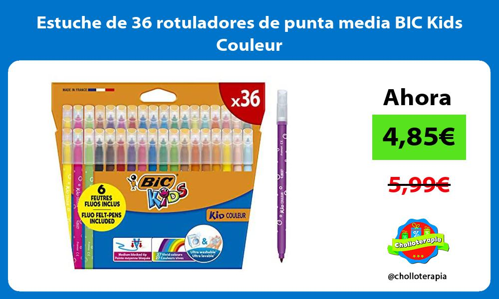 Estuche de 36 rotuladores de punta media BIC Kids Couleur