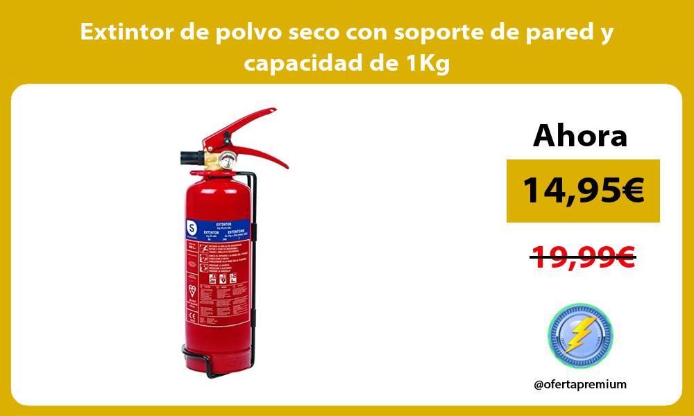 Extintor de polvo seco con soporte de pared y capacidad de 1Kg