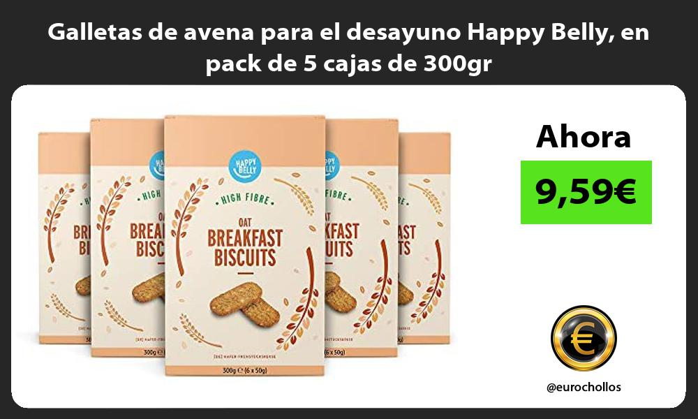 Galletas de avena para el desayuno Happy Belly en pack de 5 cajas de 300gr