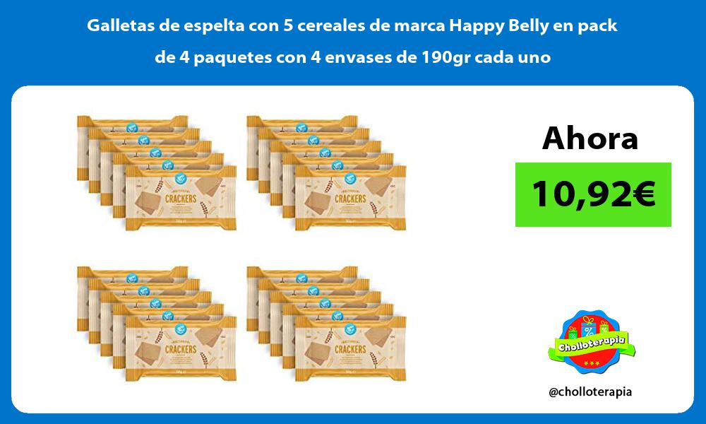 Galletas de espelta con 5 cereales de marca Happy Belly en pack de 4 paquetes con 4 envases de 190gr cada uno