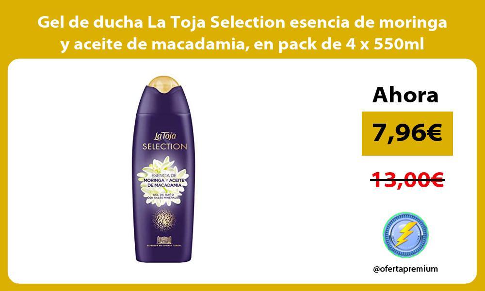 Gel de ducha La Toja Selection esencia de moringa y aceite de macadamia en pack de 4 x 550ml