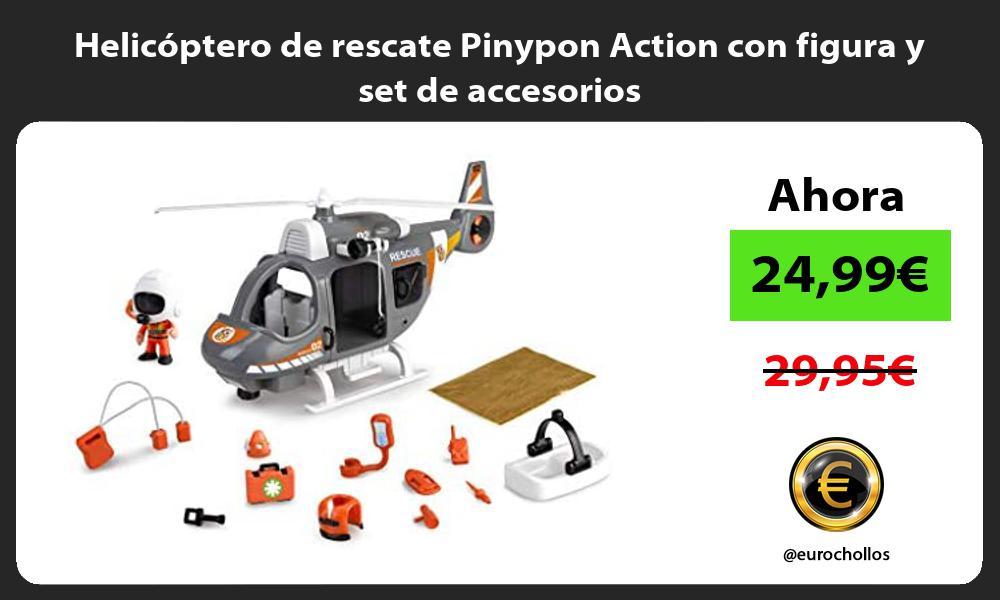 Helicóptero de rescate Pinypon Action con figura y set de accesorios