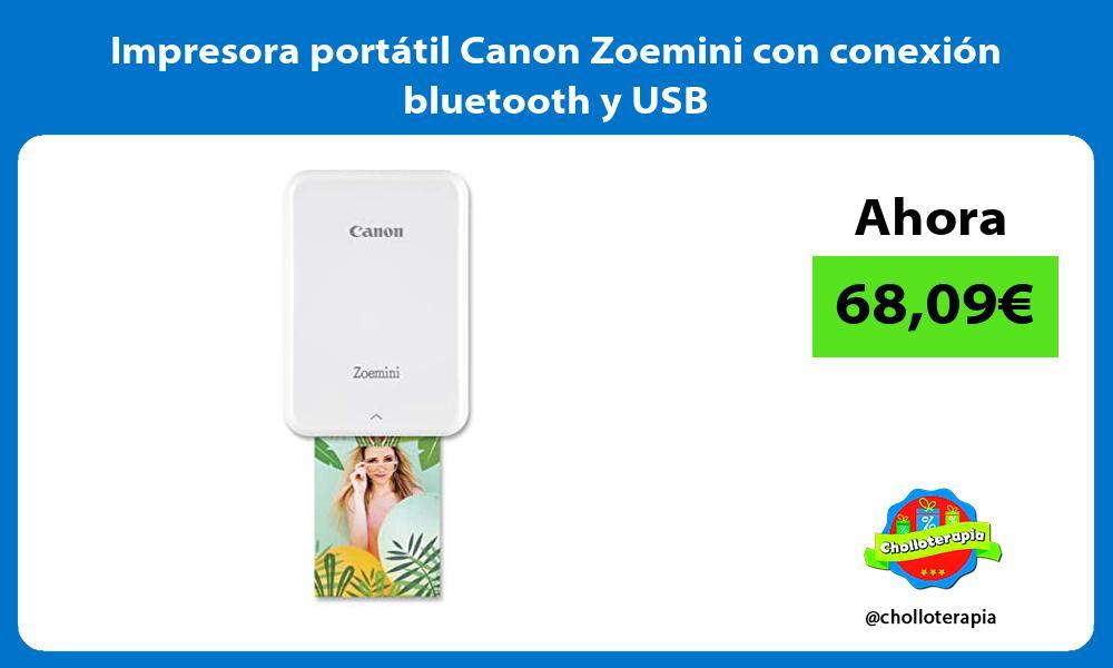 Impresora portátil Canon Zoemini con conexión bluetooth y USB