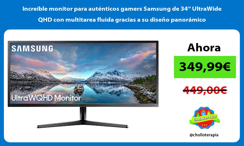 """Increíble monitor para auténticos gamers Samsung de 34"""" UltraWide QHD con multitarea fluida gracias a su diseño panorámico"""