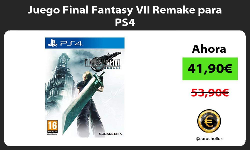 Juego Final Fantasy VII Remake para PS4