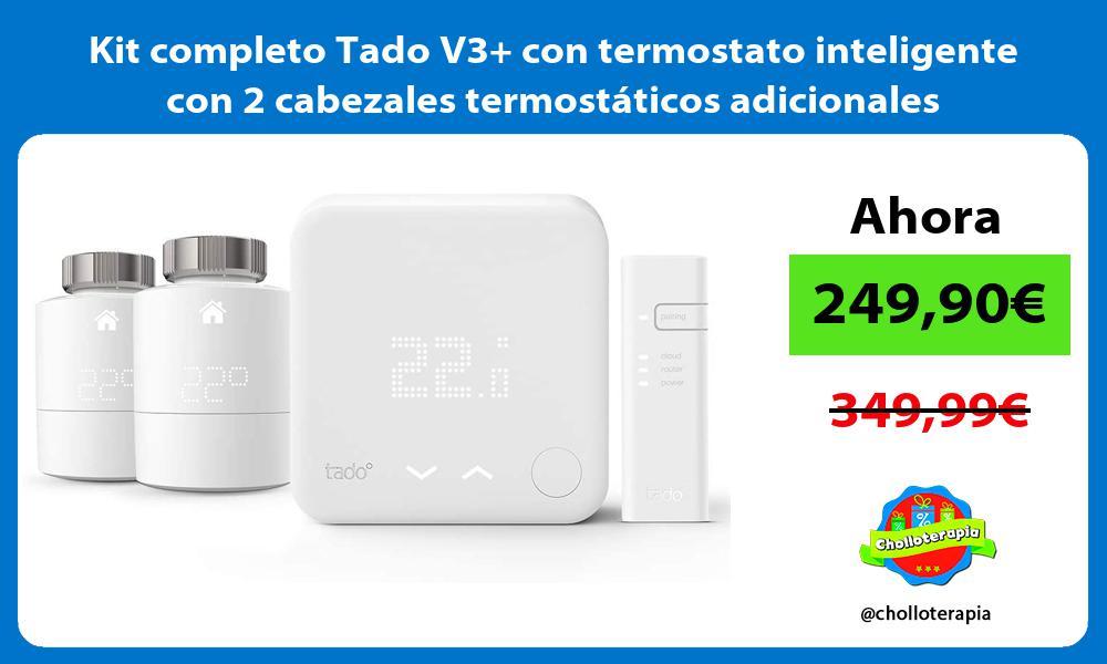 Kit completo Tado V3 con termostato inteligente con 2 cabezales termostáticos adicionales