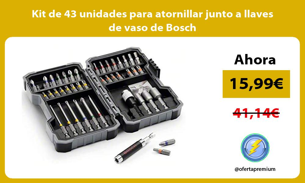 Kit de 43 unidades para atornillar junto a llaves de vaso de Bosch