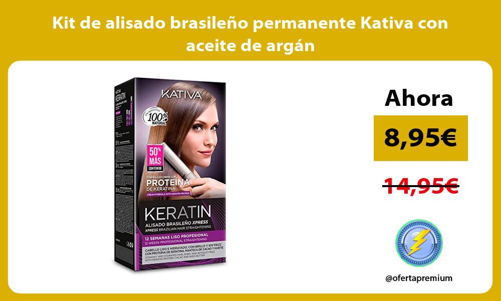Kit de alisado brasileño permanente Kativa con aceite de argán