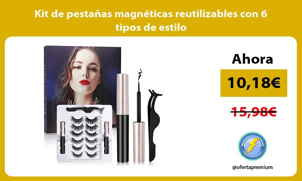 Kit de pestañas magnéticas reutilizables con 6 tipos de estilo