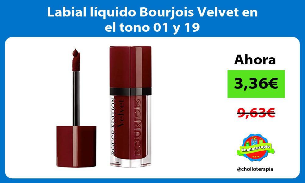Labial líquido Bourjois Velvet en el tono 01 y 19