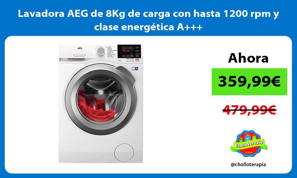 Lavadora AEG de 8Kg de carga con hasta 1200 rpm y clase energética A