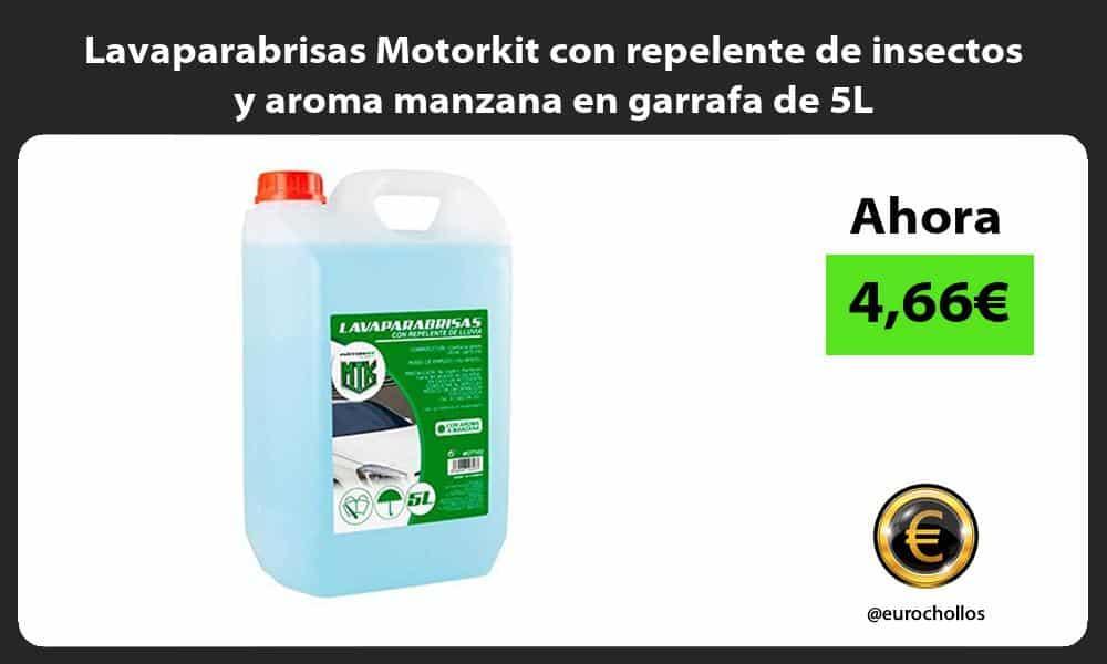 Lavaparabrisas Motorkit con repelente de insectos y aroma manzana en garrafa de 5L