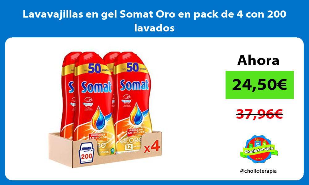 Lavavajillas en gel Somat Oro en pack de 4 con 200 lavados