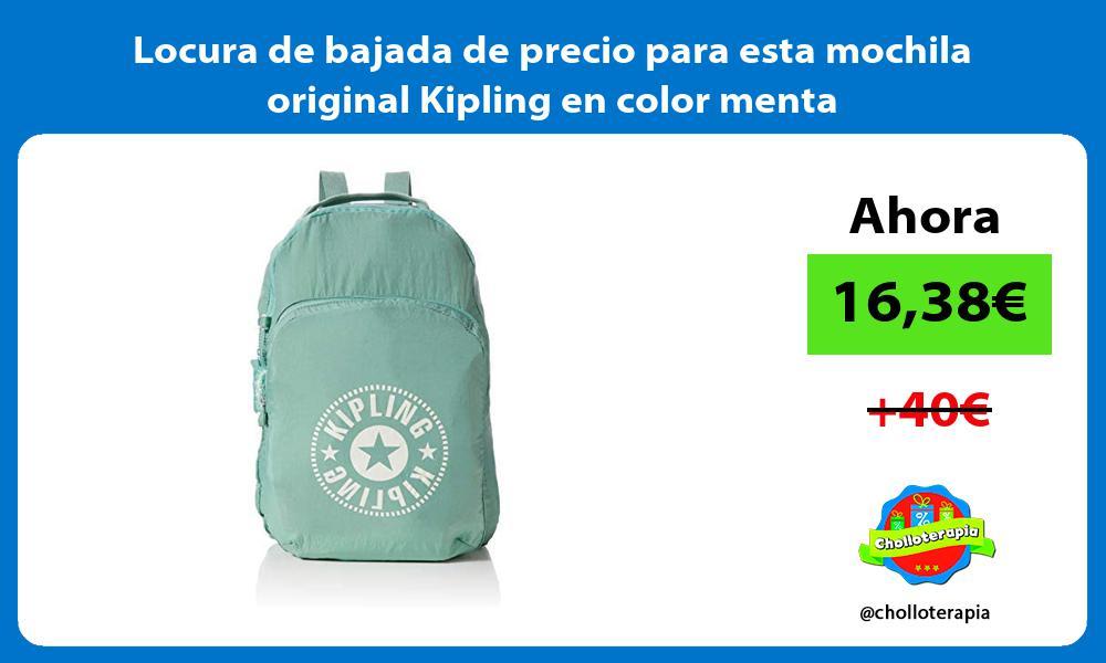 Locura de bajada de precio para esta mochila original Kipling en color menta