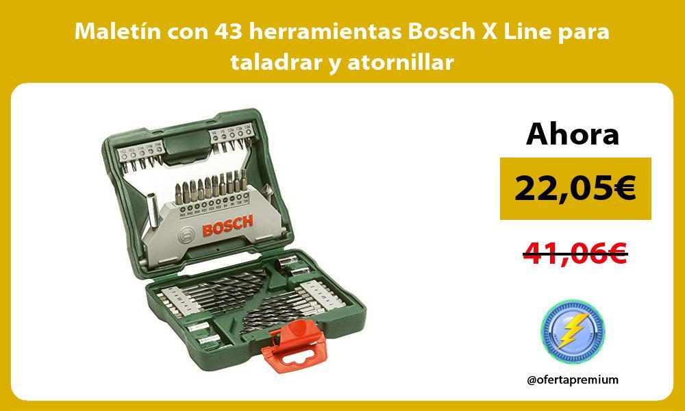 Maletín con 43 herramientas Bosch X Line para taladrar y atornillar