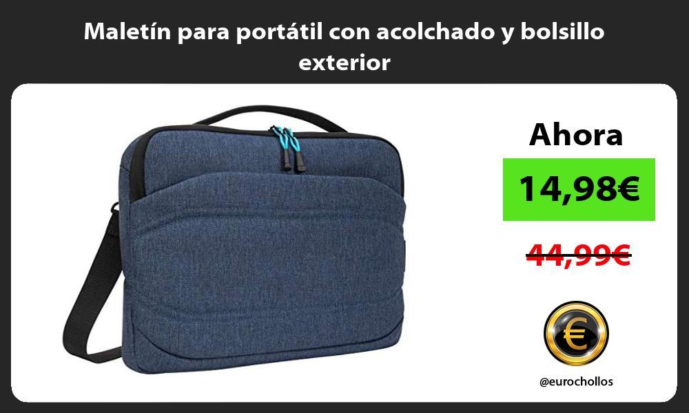 Maletín para portátil con acolchado y bolsillo exterior