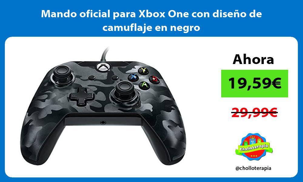 Mando oficial para Xbox One con diseño de camuflaje en negro
