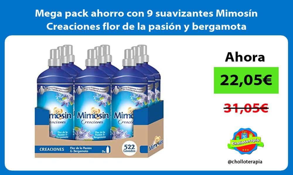 Mega pack ahorro con 9 suavizantes Mimosín Creaciones flor de la pasión y bergamota
