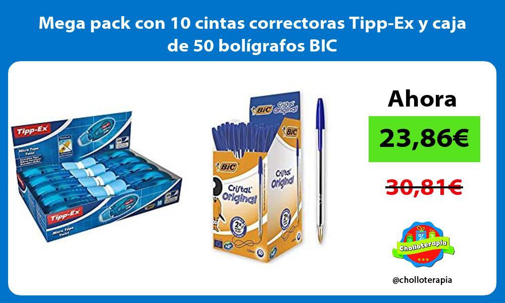 Mega pack con 10 cintas correctoras Tipp Ex y caja de 50 bolígrafos BIC