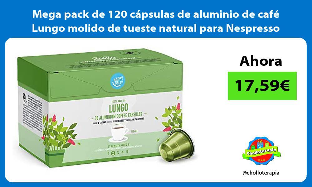 Mega pack de 120 cápsulas de aluminio de café Lungo molido de tueste natural para Nespresso