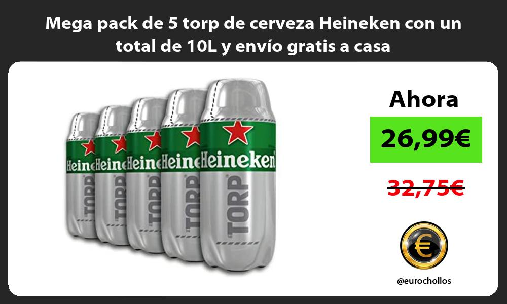 Mega pack de 5 torp de cerveza Heineken con un total de 10L y envío gratis a casa