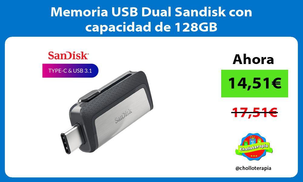 Memoria USB Dual Sandisk con capacidad de 128GB
