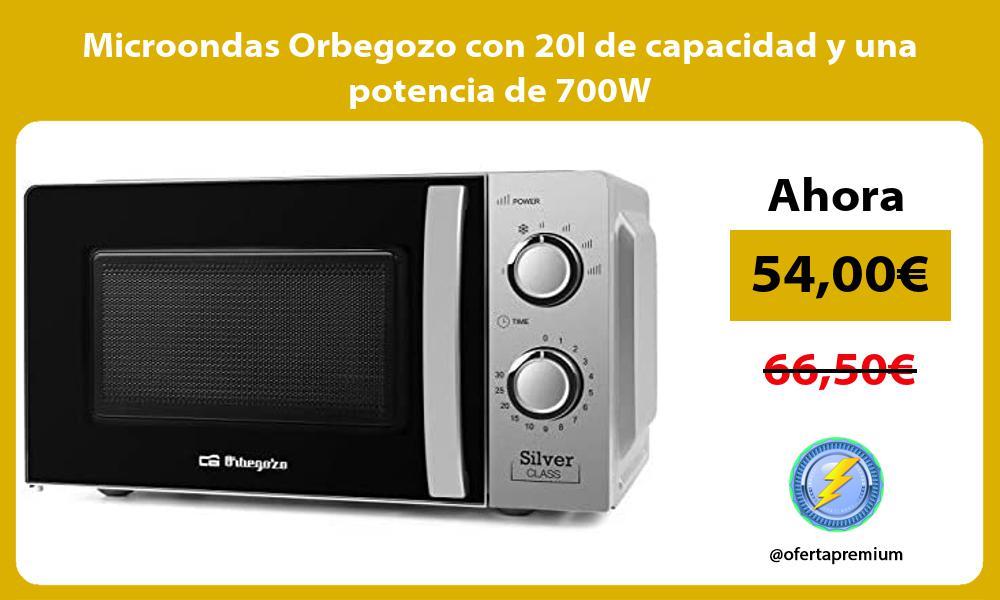 Microondas Orbegozo con 20l de capacidad y una potencia de 700W