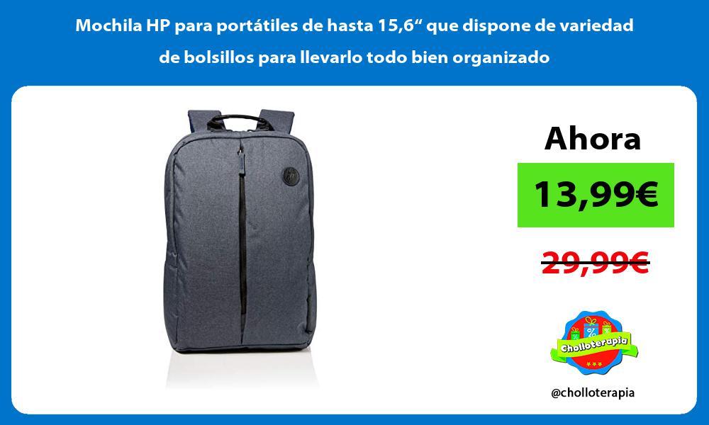 """Mochila HP para portátiles de hasta 156"""" que dispone de variedad de bolsillos para llevarlo todo bien organizado"""