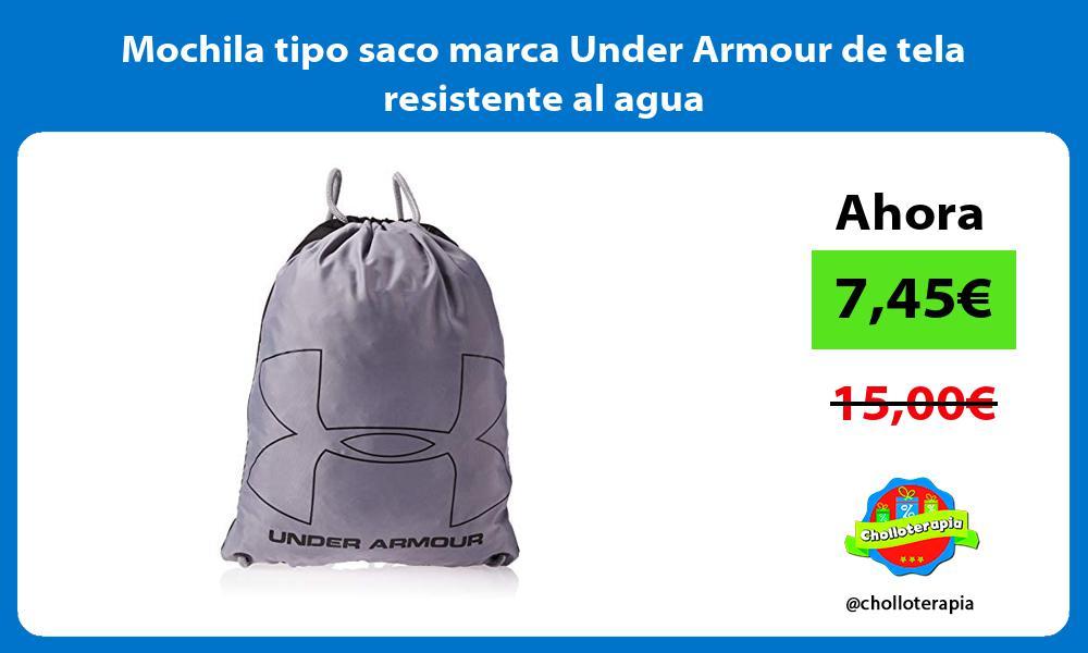 Mochila tipo saco marca Under Armour de tela resistente al agua