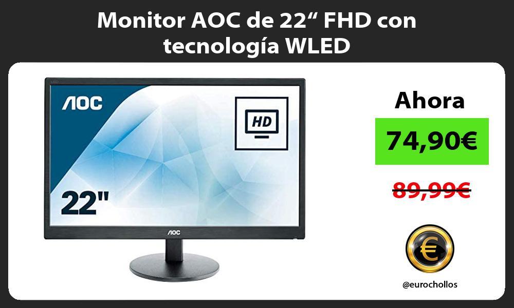 """Monitor AOC de 22"""" FHD con tecnología WLED"""