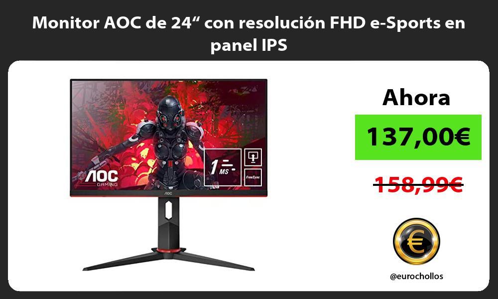"""Monitor AOC de 24"""" con resolución FHD e Sports en panel IPS"""