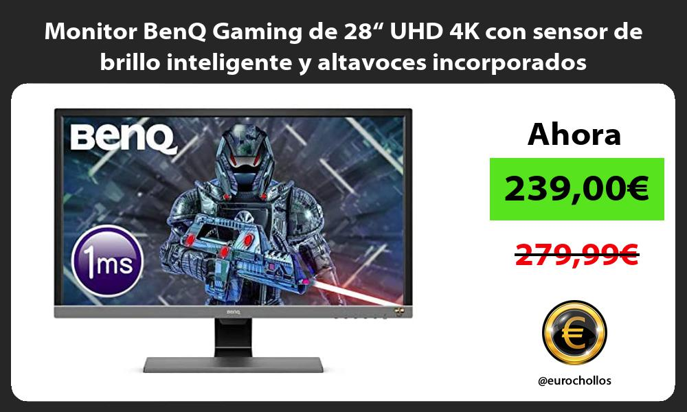 """Monitor BenQ Gaming de 28"""" UHD 4K con sensor de brillo inteligente y altavoces incorporados"""