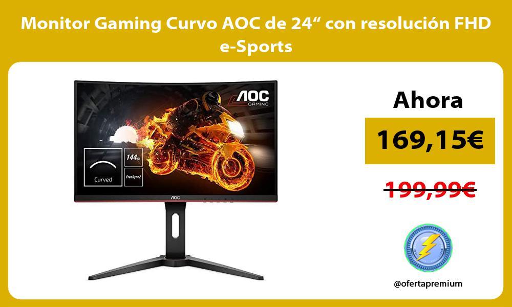 """Monitor Gaming Curvo AOC de 24"""" con resolución FHD e Sports"""