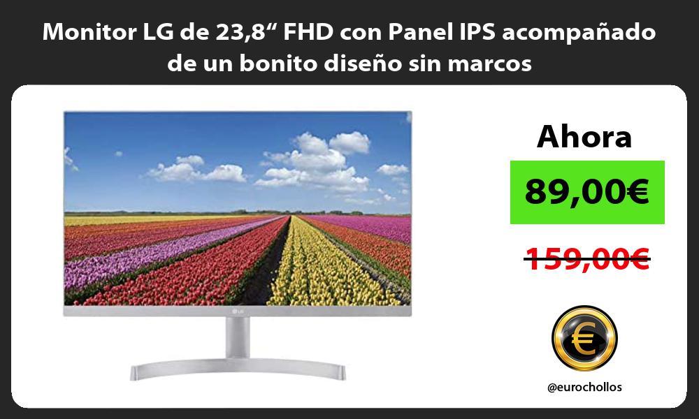 """Monitor LG de 238"""" FHD con Panel IPS acompañado de un bonito diseño sin marcos"""