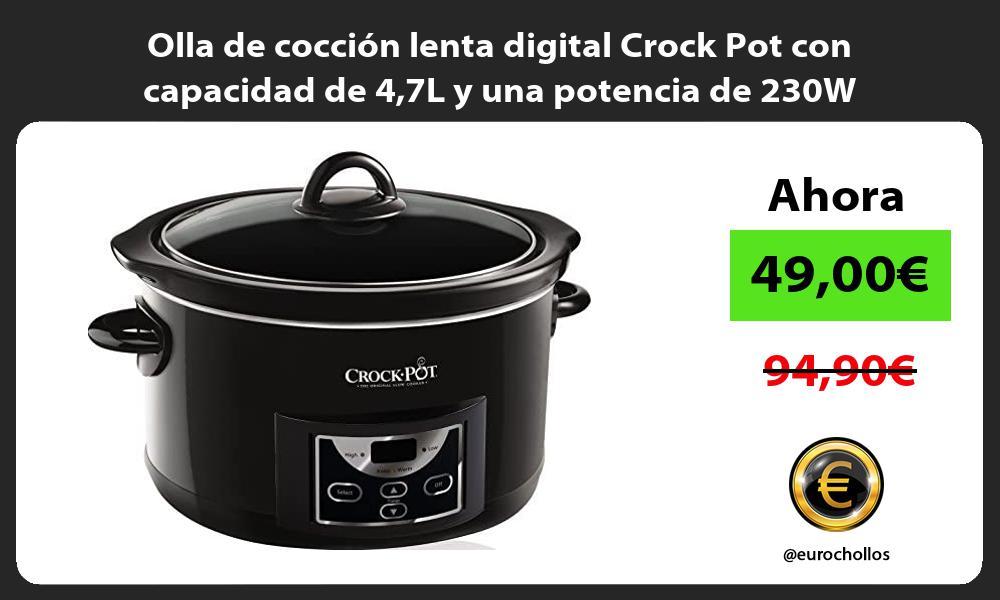 Olla de cocción lenta digital Crock Pot con capacidad de 47L y una potencia de 230W