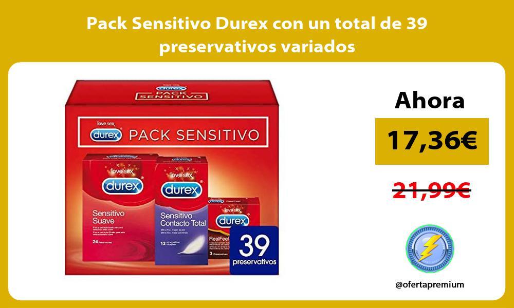 Pack Sensitivo Durex con un total de 39 preservativos variados