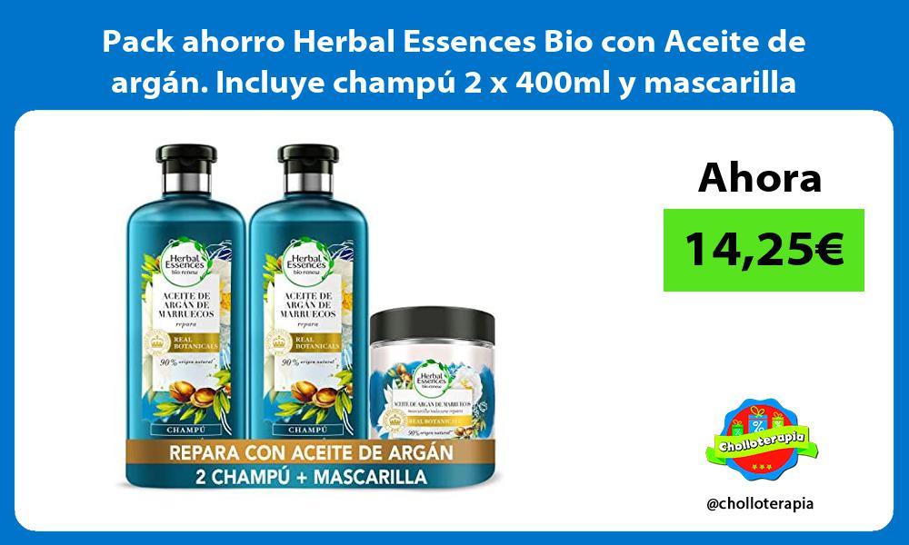 Pack ahorro Herbal Essences Bio con Aceite de argán Incluye champú 2 x 400ml y mascarilla