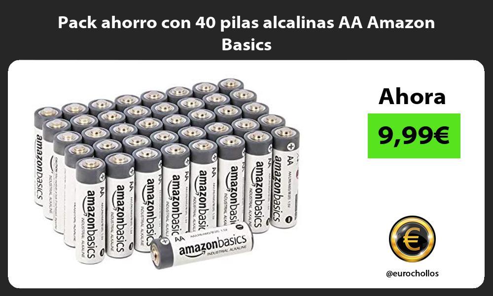 Pack ahorro con 40 pilas alcalinas AA Amazon Basics