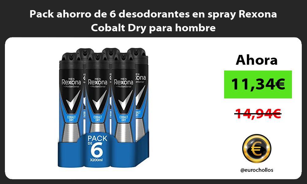 Pack ahorro de 6 desodorantes en spray Rexona Cobalt Dry para hombre